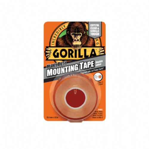 Gorilla 3044101 Heavy Duty Double Sided Mounting Tape Clear 25.4mm x 1.52m